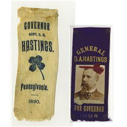 Political Ribbons of General D.A. Hastings 1890-1894
