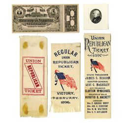 Republican Convention Ribbons ca.1896-1900 McKinley/Hobart and McKinley/Rooselvelt