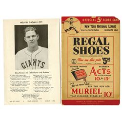 New York, 1940 National League Official Score Card With Insert of Player Melvin Thomas Ott.