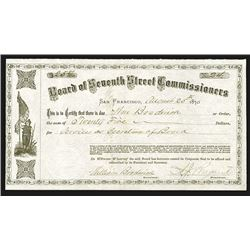 Board of Seventh Street Commissioners, 1876 Issued Warrant