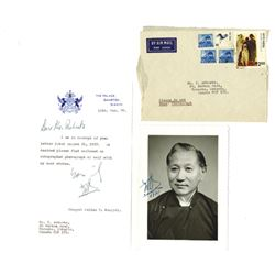 Autograph Portrait and Letter from Chogal Palden T. Namgyal, 1978