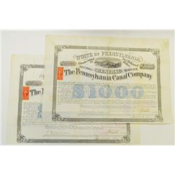 Pennsylvania Canal Co., 1870 Pair of Issued Bonds