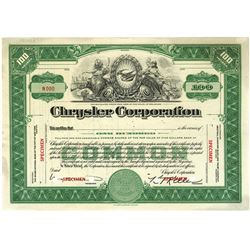 Chrysler Corp., ca.1920-1930 Specimen Stock Certificate