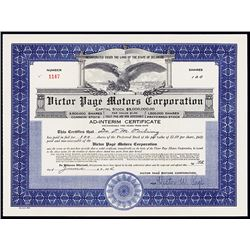 Victor Page Motors Corp., 1925, 100 Shares I/U Stock Certificate.