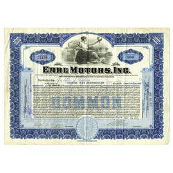 Earl Motors, Inc., 1922 Issued Stock Certificate.