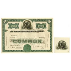 Murray Corporation of America, ca.1925-1930 Proof Stock Certificate with Matching Proof Vignette.