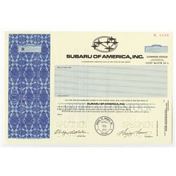 Subaru of America, Inc., Specimen Stock Certificate.