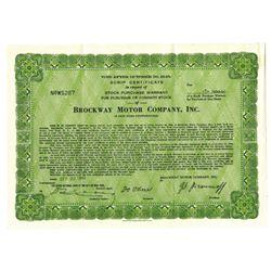 Brockway Motor Co., Inc., 1943 Issued Stock Certificate