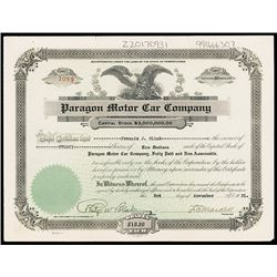 Paragon Motor Car Co. 1921, Issued Stock Certificate.