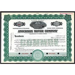Anderson Motor Co. ND ca. 1920-30's Specimen Stock Certificate.