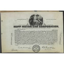 Hupp Motor Car Corp., ND, ca.1915 Proof Stock Certificate.