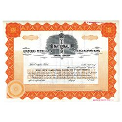 City National Bank of Fort Smith, ca.1920-1940 Specimen Stock Certificate