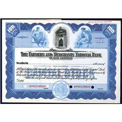 Farmers & Merchants National Bank of Los Angeles Specimen Stock Certificate.