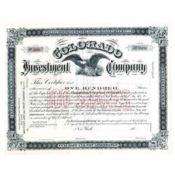 Colorado Investment Co., ca.1880-1900 Specimen Stock Certificate