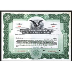 Fourth National Bank of Columbus, Georgia, Specimen Stock Certificate.