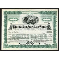 Hungarian American Bank of New York, ca. 1910-19 Specimen Stock Certificate