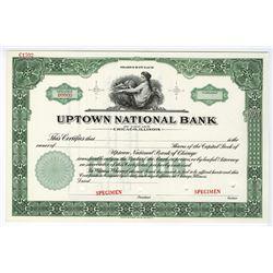 Uptown National Bank, ca.1950-1960 Specimen Stock Certificate