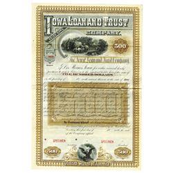 Iowa Loan and Trust Co., ca.1880-1900 Specimen Bond