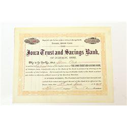 Iowa Trust & Savings Bank, 1914 Stock Certificate