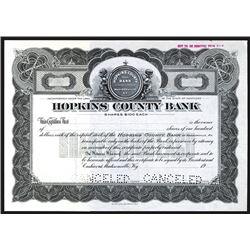 Hopkins County Bank, Specimen Stock Certificate.