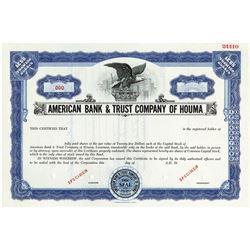 American Bank & Trust Co. of Houma, ca.1970-1980 Specimen Stock Certificate