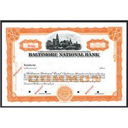 Baltimore National Bank, Specimen Stock Certificate.