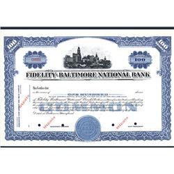 Fidelity-Baltimore National Bank, Specimen Stock Certificate.