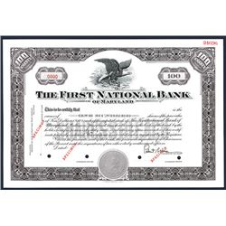 First National Bank of Maryland, Specimen Stock Certificate.