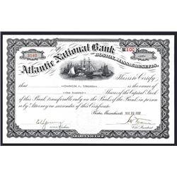 Atlantic National Bank of Boston, Massachusetts Issued Stock Certificate.