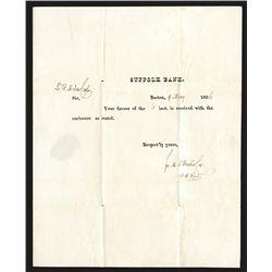 Suffolk Bank correspondence. 1836.