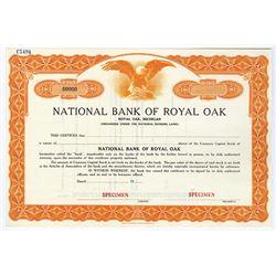 National Bank of Royal Oak, ca.1930-1940 Specimen Stock Certificate