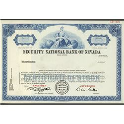 Security National Bank of Nevada, Specimen Stock Certificate.