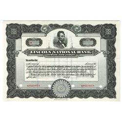 Lincoln National Bank, ca.1930-1940 Specimen Stock Certificate