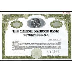 Marine National Bank of Wildwood New Jersey, Specimen Stock Certificate.