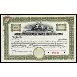 American Exchange Irving Trust Co., Specimen Stock Certificate.