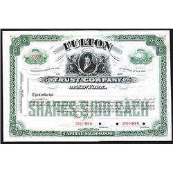 Fulton Trust Co., ca.1920-1930 Specimen Stock Certificate