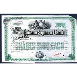 Madison Square Bank, Specimen Stock Certificate.