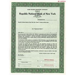 Republic National Bank of New York, ca.1950-60's Silver Bullion Safekeeping Certificate.