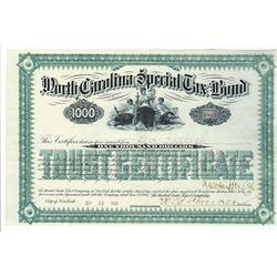 North Carolina Special Tax Bond, 1887 Issued Bond