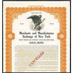 Merchants and Manufacturers Exchange of New York, Specimen Bond.