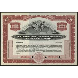 Bank of American Trust Co. Specimen Stock Certificate.