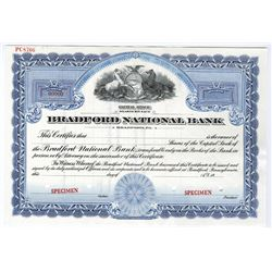 Bradford National Bank, ca.1940-1950 Specimen Stock Certificate