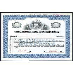 City National Bank of Philadelphia, Specimen Stock Certificate.