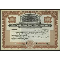 First National Bank Conshohocken, Specimen Stock Certificate.