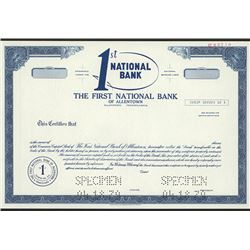 First National Bank of Allentown, Specimen Stock Certificate.