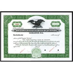 First National Bank of Lebanon, Specimen Stock Certificate.
