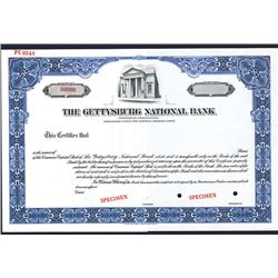 Gettysburg National Bank, Specimen Stock Certificate.