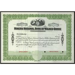 Miner National Bank of Wilkes-Barre, ca.1900-1930 Specimen Stock Certificate.