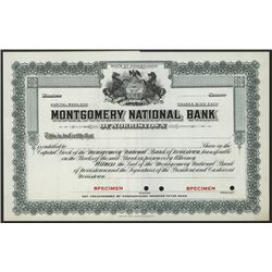 Montgomery National Bank, Specimen Stock Certificate.