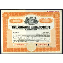 National Bank of Olney in Philadelphia, Specimen Stock Certificate.